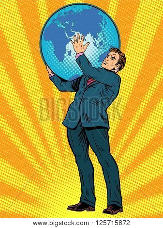 Businessman the Titan Atlas holds the Earth on his shoulders pop art retro style. Images of ancient myths in business. The power of the planet. caring for the earth. Earth Day