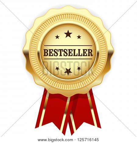 Golden cogged medal Bestseller with red ribbon