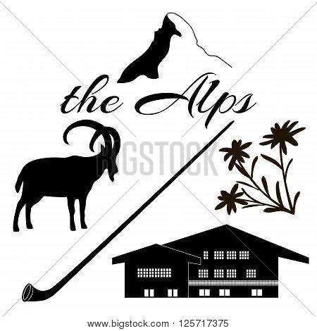 The Alps flat icons. Mountain Matterhorn Alpine ibex chalet edelweiss flowers alpenhorn.