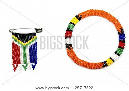 Zulu Beads Threaded Into An Armband And A South African Flag