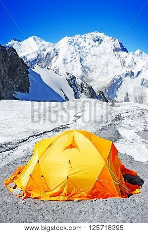The tent in Everest Base Camp. Active sport concept
