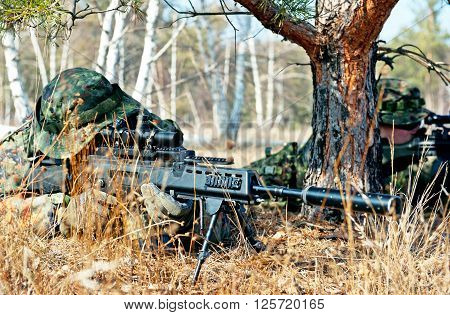 Camouflage sniper in the wood. Army concept