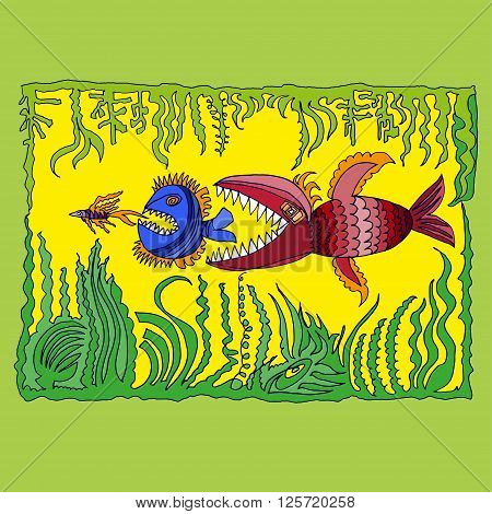 illustration with three fish and water plants