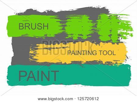 Colored flat banner in the form of a trace of stiff brush with paint. Vector picture. Coloured paint coloured stripes on stripes is text.