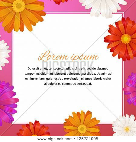 Health and beauty template with colorful gerbera flowers and text space, square illustration