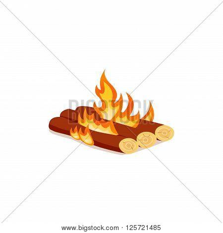 Taiga fire vector icon. Bright bonfire in cartoon style.