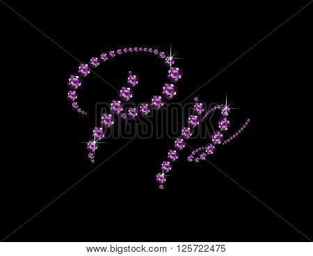 Pp in stunning Amethyst Script precious round jewels isolated on black.