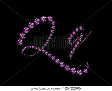 Qq in stunning Amethyst Script precious round jewels isolated on black.