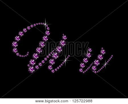 Uu in stunning Amethyst Script precious round jewels isolated on black.