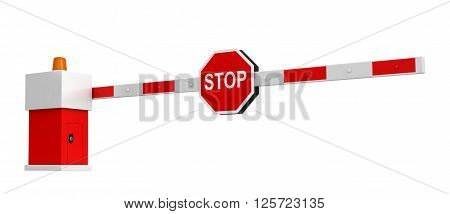 3d rendering of barrier with stop sign isolated over white background