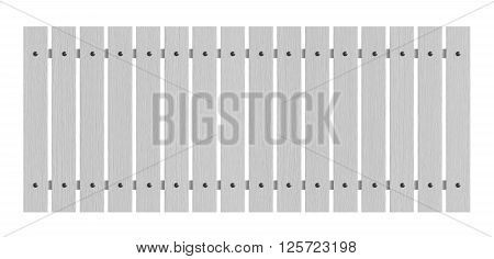 3d render of white wooden fence isolated over white background