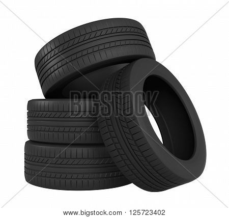 3d rendering of tyres isolated on white background
