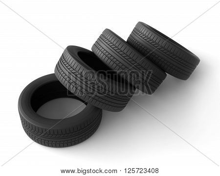 3d rendering of tyres on white background