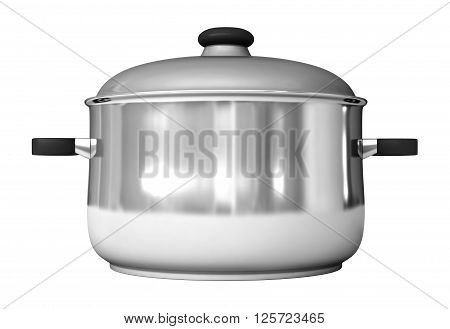 3d rendering of saucepans isolated on white background