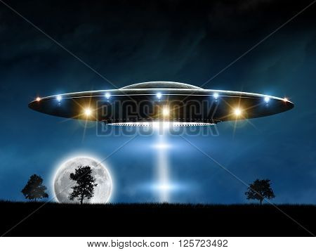 3d rendering of flying saucer ufo on night background
