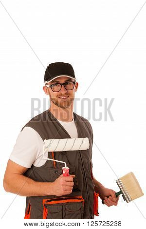 Handyman in work clothing with bleaching tools isolated over white.