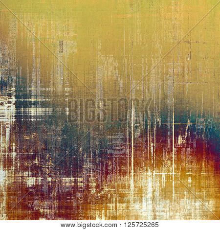 Vintage frame, grunge background with old style decor elements and different color patterns: yellow (beige); brown; blue; purple (violet); red (orange)