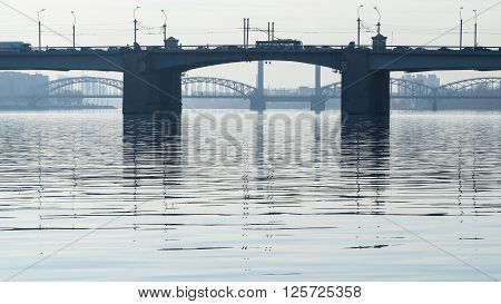 Neva and the bridges early in the morning