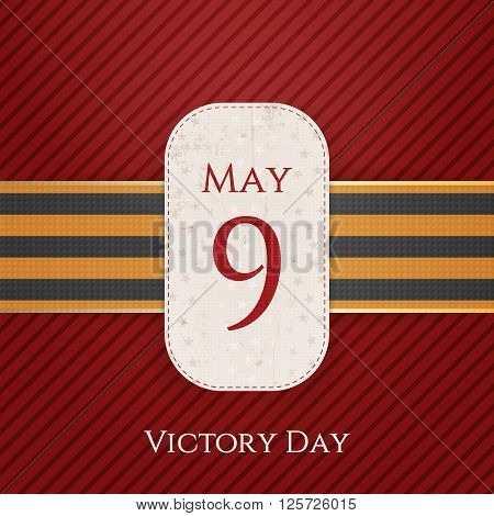 May 9 Victory Day white paper Banner with st. George Ribbon on red striped Background. Vector Illustration