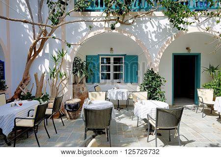The outdoor restaurant in traditional Greek style Santorini island Greece