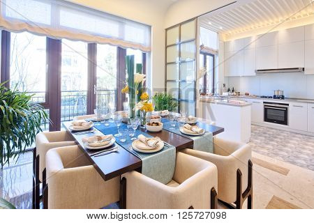 decoration and furniture of modern dining room