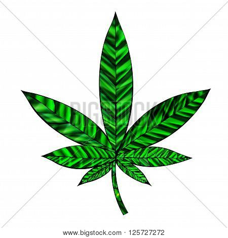 Stunning cannabis leaf in stained-glass style isolated on white.