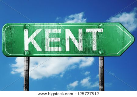 kent road sign on a blue sky background