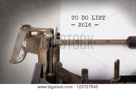 Vintage Typewriter  - To Do List 2016