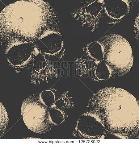 Grunge seamless pattern with skulls.  Hand drawn. Jpeg version.