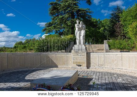 COGNAC FRANCE - MAY 06 2015: Monument in french town Cognac. The town gives its name to one of the world's best-known types of brandy