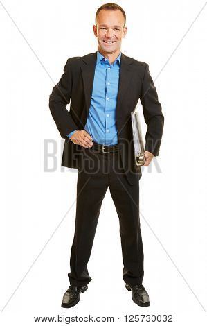 Smiling full body business consultant in suit with files isolated on white