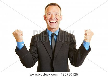 Successful happy business man cheering with his clenched fists