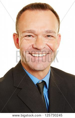 Head shot of smiling happy businessman in a suit