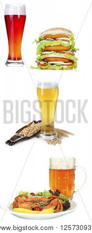 Different types of beer in glasses and snacks, isolated on white