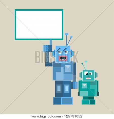 Robot cute icons and characters vektor illustration