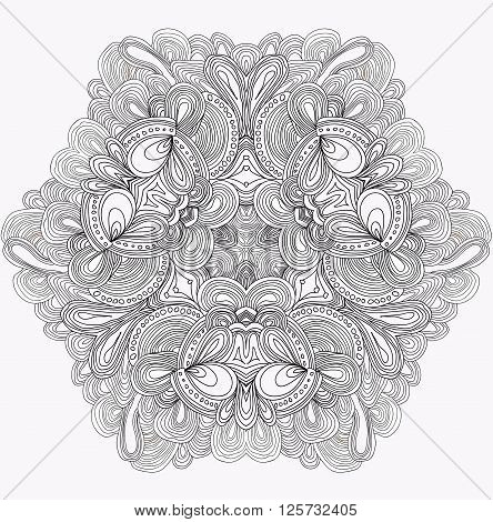 Black and white abstract pattern with leaves and flowers. Doodle. Hand drawn zentagles. Coloring book. Mandala. Vector image. Can be used as adult coloring book page, card, invitation.