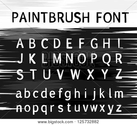 Vector alphabet. Modern stamps letters with grunge texture. Paint brush alphabet on graphic background. Paint brush classic typing font.