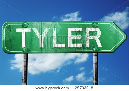 tyler road sign on a blue sky background