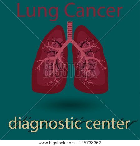 Human lung emblem medicine clinic symbol design cancer diagnostics center flat design vector