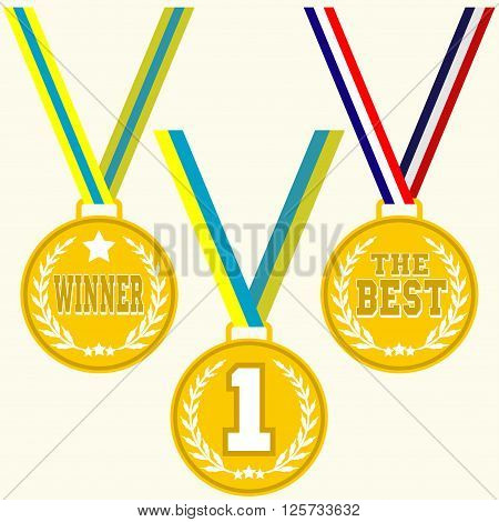Set of signs medal golden medal with laurel wreath multicolored ribbon and text winner or the best flat design medal icon vector
