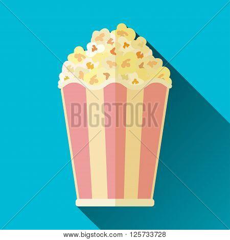Popcorn bucket icon flat design with long shadow vector