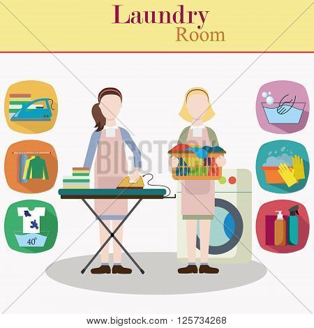 Couple of women laundry workers in flat style vector illustration. Washing machine, ironing board, clothes rack with things, facilities for washing and laundry icons.