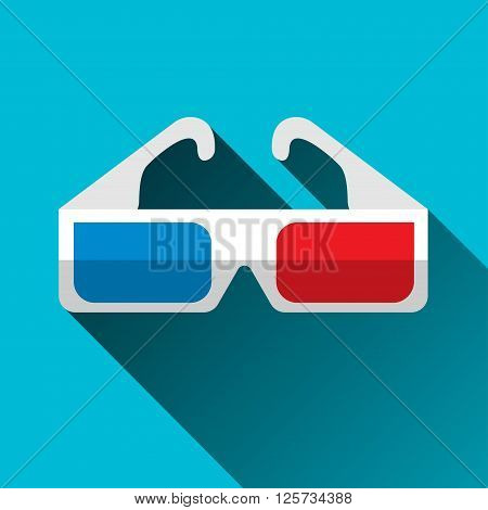 3D glasses icon flat design with long shadow vector