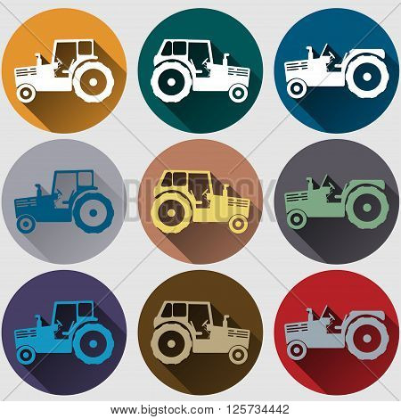 Tractor icons set flat design tractor's emblem with long shadow vector