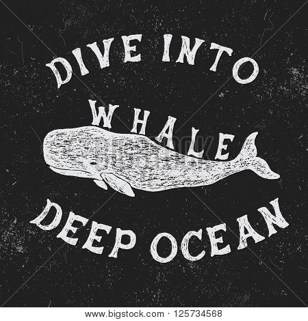 Vintage label with whale.Vintage style.Typography design for t-shirts