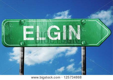elgin road sign on a blue sky background