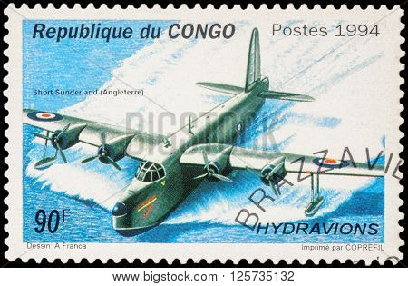 MOSCOW RUSSIA - APRIL 12 2016: A stamp printed in Congo shows British flying boat patrol bomber Short Sunderland series