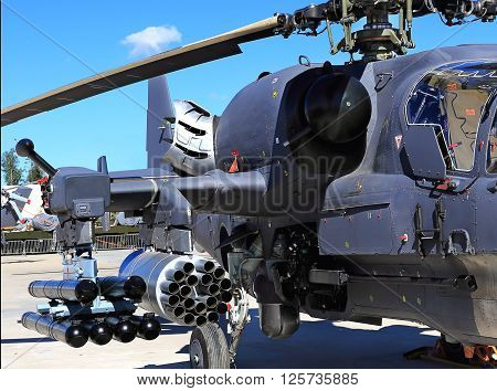 MOSCOW REGION  -   JUNE 17: Combat helicopter is armed with rockets bombs guns and able to fight day and night   -  on June 17, 2015 in Moscow region