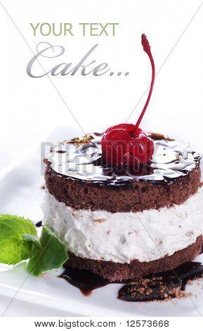 Chocolate Cake over white