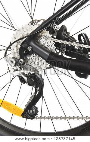 bicycle disk brake on a white background